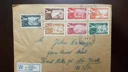 O) 1957 YUGOSLAVIA, IRON GATE DERPAD-CASCADES-OHRID-CAROLINA-GULF OF KOTOR- DUBROVNIK, REGISTERED FROM JESENICE TO USA, - Covers & Documents