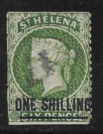St. Helena, Scott # 16 Used Queen Victoria, Surcharged, 1884, CV$35.00, Trimmed Perfs - Saint Helena Island