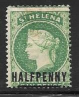 St. Helena, Scott # 33 Mint Hinged Queen Victoria, Surcharged, 1884 - Saint Helena Island