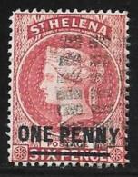 St. Helena, Scott # 35 Used Queen Victoria, Surcharged, 1887 - Saint Helena Island