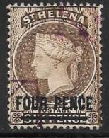 St. Helena, Scott # 38 Used Queen Victoria, Surcharged, 1890 - Saint Helena Island