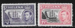 St. Helena, Scott #118, 120 Mint Hinged Badge Of The Colony, Ship, 1938 - Saint Helena Island