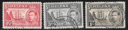 St. Helena, Scott #120,122A,124 Used Badge Of The Colony, Ship, 1938-40 - Saint Helena Island