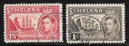 St. Helena, Scott #120,124 Used Badge Of The Colony, Ship, 1938 - Saint Helena Island