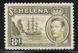 St. Helena, Scott #123A Mint Hinged Badge Of The Colony, Ship, 1940 - Saint Helena Island