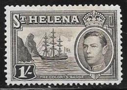 St. Helena, Scott #124 Mint Hinged Badge Of The Colony, Ship, 1938 - Saint Helena Island