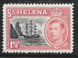 St. Helena, Scott #137 Mint Hinged Badge Of The Colony, Ship, 1949 - Saint Helena Island