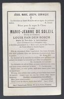 DP DE SOLEIL ( VAN DEN BOSCH ) ° TIRLEMONT TIENEN 1829 + 1903 BOUASSE LEBEL PARIS - Devotion Images