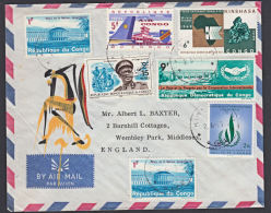 Covz0567 CONGO 1968,  Cover From Kinshasa 11 To England With I.2 Cancellation - Democratic Republic Of Congo (1964-71)