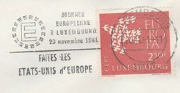 1961 COVER Luxembourg EUROPA, MAKE UNITED STATES OF EUROPE EVENT Slogan Stamps European Community - Luxembourg