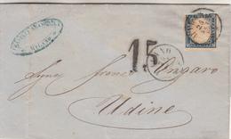 Storia Postale_Stati Sardi-20 Cent.azzurro Scuro-Milano 25 Set.1860-Al Verso Udine 27 Set-1860- - Posta