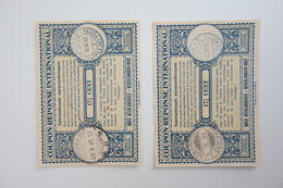 NETHERLAND INDIES : 2x INTERNATIONAL REPLY COUPON 171/2c  W/ SOERABAJA (dot) & SOERABAJA-OEDJOENG Cancels  (1940) - Netherlands Indies