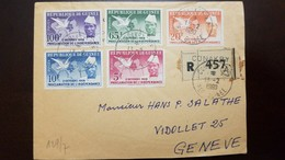 O) 1960 GUINEA, MAP-DOVE AND PRES - SEKOU TOURE, SCOTT A12, PROCLAMATION OF INDEPENDENCE, REGISTERED FROM CONAKRY TO GEN - Guinea (1958-...)
