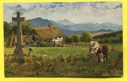 Bei ühren - Bauernhaüs Am Groben Bohnad - Lithographie  Hoffmann H. - Vaches - Elsass