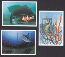 Tanzania, Scott #1671-1673, Mint Never Hinged, Marine Life, Issued 1998 - Tanzania (1964-...)