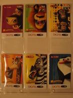 6 Remote Phonecards From Venezuela - Animals - Cartoon - Madagascar - Venezuela