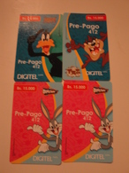 4 Remote Phonecards From Venezuela - Cartoon - Looney Tunes - Venezuela