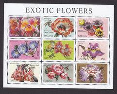 Tanzania, Scott #1685-1686, Mint Never Hinged, Exotic Flowers, Issued 1998 - Tanzania (1964-...)