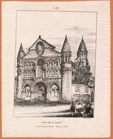 1840 NOTRE-DAME DE POITIERS Lithographie PICHOT à Poitiers.( Société Des Antiquaires De L'Ouest) - Prenten & Gravure