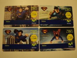 4 Remote Phonecards From Venezuela - Movistar - Superman - Venezuela