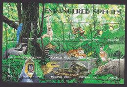 Tanzania, Scott #1691, Mint Never Hinged, Endangered Animals, Issued 1998 - Tanzania (1964-...)