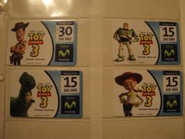 4 Remote Phonecards From Venezuela - Movistar - Disney - Toy Story - Venezuela