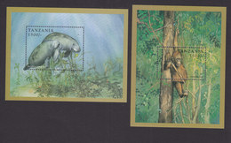 Tanzania, Scott #1695-1696, Mint Never Hinged, Endangered Animals, Issued 1998 - Tanzania (1964-...)