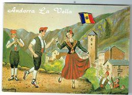 C.P. ANDORRE AVEC PIN RARE DRAPEAU - Andorra