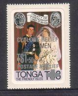 Tonga 1982 Specimen Cyclone Relief On 1981 $3 Royal Wedding Stamp - Tonga (1970-...)