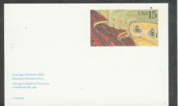 1990, Chicago Illinois Music Hall, 15-cent Mint Pc - Postal Stationery