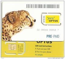 "AUSTRALIA GSM MOBILE ""OPTUS "" CHEETAH ANIMAL WHITE 4TH TYPE CHIP READ DESCRIPTION !!! - Australie"