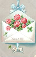 Bonne Année - Lettre - Cochon - Porcelet - Fleurs - Trèfles - 1er Avril - Poisson D'avril