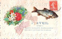 Collage 1er Avril - Fleurs - Rubans En Tissu - Poisson - Agréez Mon Petit Ambassadeur Qui Est Le Présage Du Bonheur - 1er Avril - Poisson D'avril