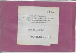 PERUGIA - ASSISI - BASILICA PATRIARCALE E. SACRO CONVENTO DI S. FRANCESCO FRATI MINORI - Biglietti D'ingresso