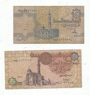 Billet , EGYPTE , Central Bank Of EGYPT , 1 Pound , 25 Piastres , 2 Scans , LOT DE 2 BILLETS - Egypte