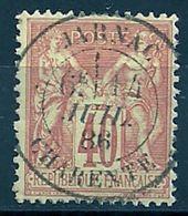 FRANCE - N° 94 - 40 CENTIMES ROUGE-ORANGE II Oblitéré JARNAC (CHARENTE) - Marcophilie (Timbres Détachés)