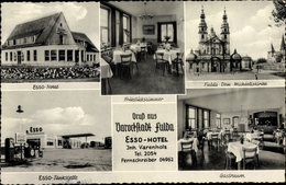 Cp Fulda In Osthessen, Stadtansichten, Esso Hotel, Dom, Frühstückszimmer, Esso Tankstelle, Gastraum - Otros