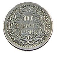 10 Cents - Hollande - 1918 - Argent - TB+ - - [ 3] 1815-… : Kingdom Of The Netherlands