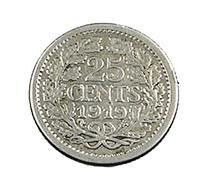 25 Cents - Hollande - 1919 - Argent - TB+ - - [ 3] 1815-… : Kingdom Of The Netherlands