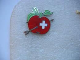 Pin's Belle Pomme Suisse De Couleur Rouge Traversée Par Une Fleche - Food