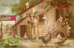 CPA Bébés Des Poilus. La Ferme Aux Bébés. Fleurs, Chou. 1916. - Patriotic