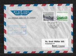 1947 SWISSAIR SUISSE-AMÉRIQUE DU SUD → Nach Rio De Janeiro, Vaduz 8.X.47 - Air Post