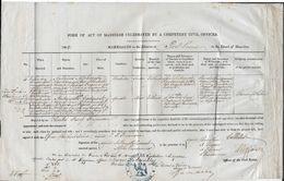 Acte Mariage Mauritius 1862 (Ile Maurice) Timbre à Sec 5 Pence Farthing. Mariage Alphonse VANDAMME - Antoinette CADOURET - Documents Historiques