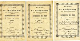 Cours De Mlle BOCQUILLON 113, Boulevard Sébastopol - 3 Distribution De Prix.: 1911: 1913: 1915 - Diplômes & Bulletins Scolaires