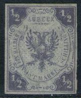 Lübeck Nr. 1 - 1/2 Shilling Dunkelviolett Ungebraucht - Tadellos - Luebeck