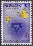 Korea Südkorea 1972 Organisationen Christentum Vereine Clubs Frauen Women YMCA Schmetterlinge Butterflies, Mi. 831 ** - Korea (Süd-)