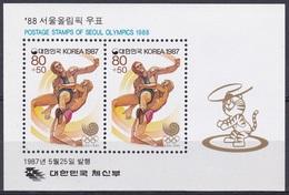 Korea Südkorea 1987 Sport Spiele Olympia Olympics Seoul Kampfsportarten Ringen, Bl. 528 ** - Korea (Süd-)