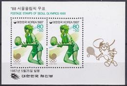 Korea Südkorea 1987 Sport Spiele Olympia Olympics Seoul Ballsportarten Tennis, Bl. 531 ** - Korea (Süd-)