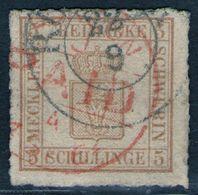 Rostock 22/9 + London PAID Auf 2 Shilling Orangebraun - Schwerin Nr. 8 A - Kabinett - Mecklenburg-Schwerin