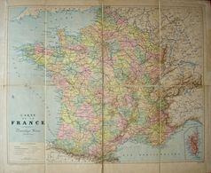 TRÈS RARE Carte Scolaire POUSSIELGUE Pré Vidal Lablache C.1875 France. EHRARD. - Geographical Maps